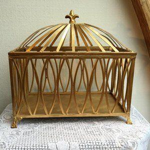 Gold Metal Wedding Card Box - Presentation/
